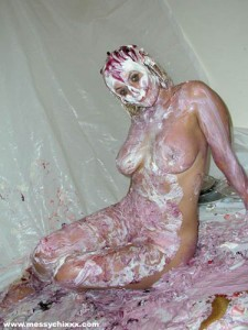 splosh girl covered in messy pies and whipped cream