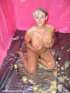 girl covered in custard